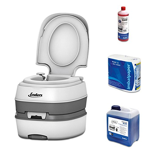 Campingtoilette Starter-Set Blue 2,5 Enders Deluxe [ 4993 ]: inkl. Sanitärflüssigkeit und WC Papier - mobile Chemietoilette Campingklo Camping-Toilette