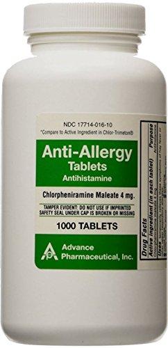 Chlorpheniramine 4mg Tabs - Chlorpheniramine Maleate anti-allergy advaced pharmaceuticl tablets, 4 mg - 1000 ea