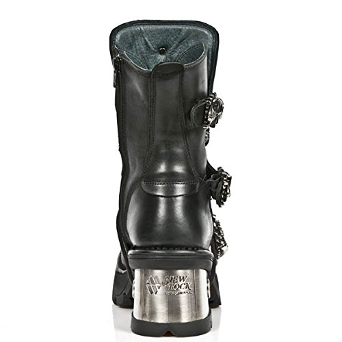 New Rock Women's Metallic Black Leather Boots M.1044-S1 (39 EU, BLACK) by New Rock Shoes (Image #3)