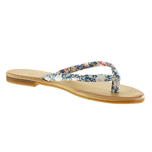 Angkorly - Zapatillas de Moda Sandalias Chanclas mujer flores Talón Tacón ancho 1.5 CM - Azul