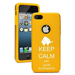 Apple iPhone 5 5S Yellow Gold 5D146 Aluminum & Silicone Case Cover Keep Calm and Love Elephants