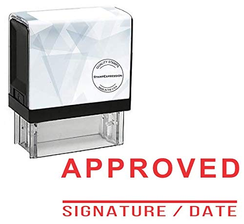 Signature Date Stamp - StampExpression - Approved Signature and Date with Line Office Self Inking Rubber Stamp - Red Ink (A-5870)
