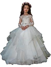 Long Sleeves Flower Girls Dresses Princess Organza Ball Gowns First Communion Dress 7-16