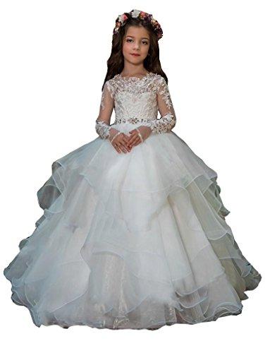 hengyud Long Sleeves Flower Girls Dresses Princess Organza Ball Gowns First Communion Dress 7-16 White