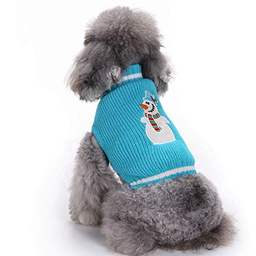 Warm Winter Coat [Knit] (2018) New Year Christmas Pet Sweater Blue Snowman Embroidery Puppy Clothes (XXL)