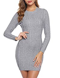 Aibrou Long Sleeve Sweater Dresses for Women Round Neck Twist Cable Knit Tunic Sweater Pullover