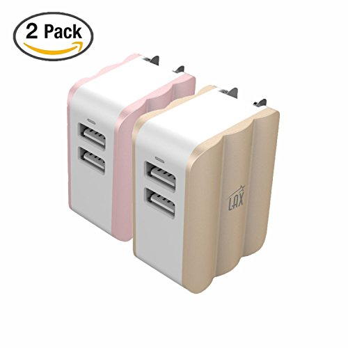 Rapid Travel Dual USB Wall Charger adapter 3.4A for iPhone X 8 7 7 plus 6S 6S+, 6 6Plus, iPad Air/Mini, Samsung Galaxy S6, S6 Edge, Nexus, HTC M9 and More [Gold + Rose Gold] by LAX Gadgets