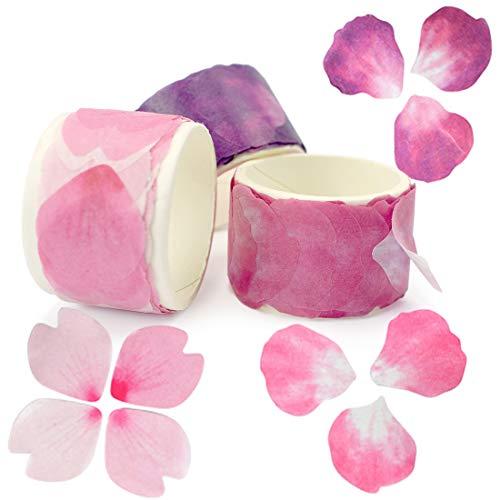 ZIIYAN 3 Rolls Flower Petal Stickers Masking Tape for Scrapbook, Bullet Journal, Planner, Arts and Crafts DIY, 80 - Craft Petal
