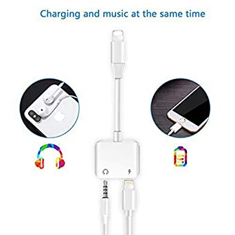 Headphone Adapter 3.5mm Jack Aux Audio Adaptor Charger for iPhone 8//8Plus//X//Xs//XSmax for iPhone7//7Plus,2 in 1 Earphone Splitter Adaptor Charger Cables /& Audio Connector Dongle Support All iOS Systems Ambrrhty