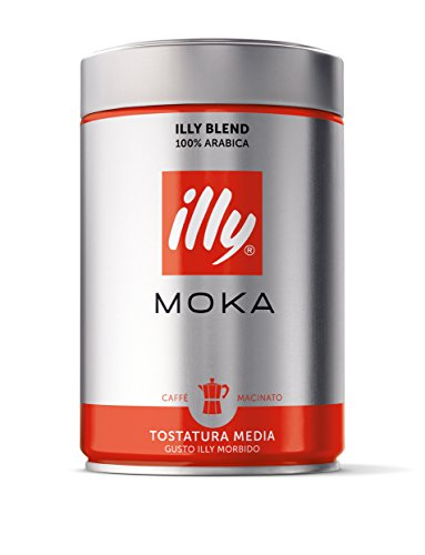 illy Coffee, Moka Ground, Medium Roast, 100% Arabica Bean Signature Italian Blend, Premium Gourmet Roasted Coffee, Pressurized Fresh 8.8 Ounce Tin, Stovetop Moka Pot Preparations