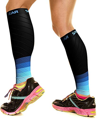 Physix Gear Sport Compression Calf Sleeves for Men & Women 20-30mmhg - Best Footless Compression Socks for Shin Splints, Running, Leg Pain, Nurses & Pregnancy -Increase Circulation - BLK/BLU L/XL