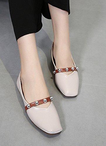 Aisun Womens Vintage Clouté Strap Orteil Plat Coupe Basse Glissement Sur Les Chaussures Chaussures Abricot