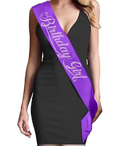 Birthday Girl Rhinestone Birthday Sash - Birthday Party Supplies & Decorations - Purple]()