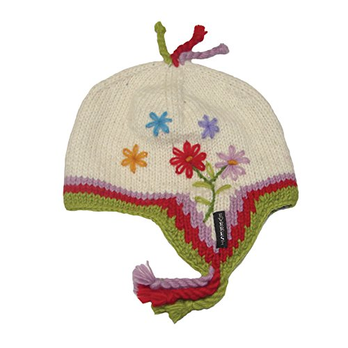 Everest Designs Girls 15901 Daisy Earflap Hat, White, One Size