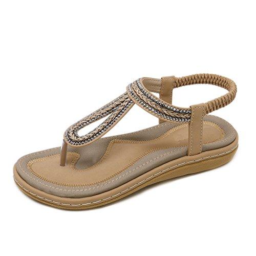 Strand Kvinner Flate flops Sommer Bohem Flip Sandaler For Sko Khaki Damer Ruiren Tilfeldige SqWY8dY