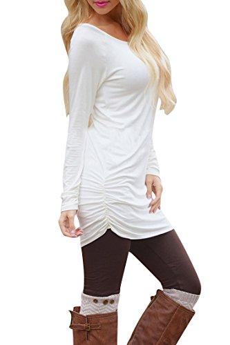 Pink Queen Women's Basic Long Sleeve Slim Fit T Shirt Dress Tunic Top L White