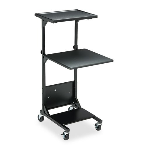 Adjustable Height Projection Stand, Three-Shelf, 18w x 20d x 42h, Black ()