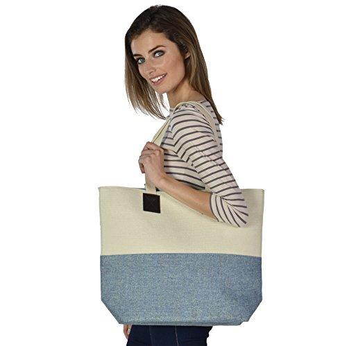 Canvas Shoulder Shimmer Tote Ladies Shopping Blue Bag Holiday Beach Handbag RgWwwanqS