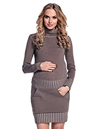 Happy Mama Womens Maternity Stretchy Knitted Tunic Mini Dress Roll Neck. 178p