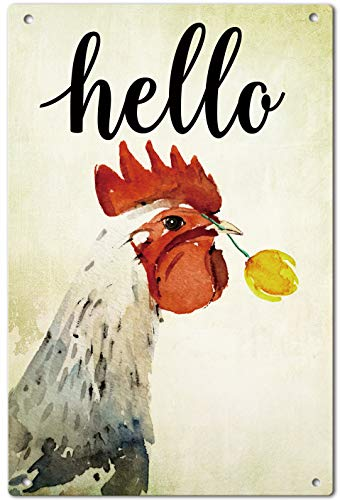 - Agantree Art Hello Farm House Chicken Fowl Garden Yard Metal Sign Outdoor Decorative Metal Plaque 12 x 8 Inch