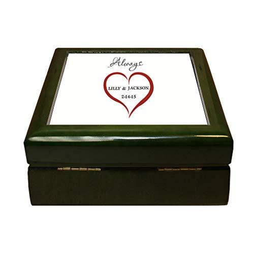 Style In Print Personalized Custom Text Wedding Heart Love Always Couple Wood Organizer Jewelry Box 4