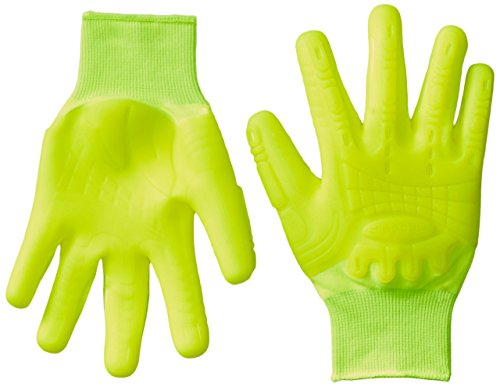 Mad Grip F50 Thunderdome Impact Gloves, Large, High Vis Yellow Dipped Grip