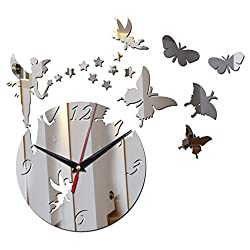 Wall Clock New Mirror Sun 3D Home Decor Crystal Clock Art Watch Silver