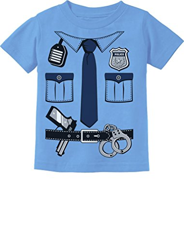 Police Cop Uniform Halloween Costume Policeman Suit Toddler/Infant Kids T-Shirt 5/6 California Blue (Police Girls T-shirt)