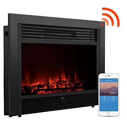 "KUPPET 28.5"" Electric Fireplace Alexa Connectivity, App Controls Wi-Fi Smart Adjustment Embedded Insert Freestanding Heater with Remote Glass View Five-Level Brightness Flame, 750W /1500W, Black"
