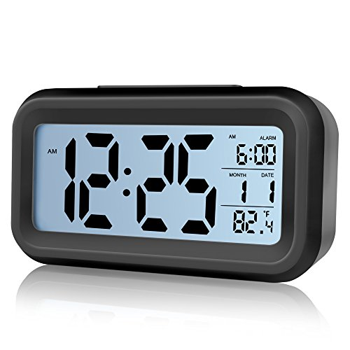 Alarm Clock,Airsspu Digital Easy to Set and Watch with Large LCD screen Low Light Sensor Technology Soft Night Light Repeating Snooze Month Date & Temperature Display (Black)