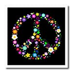 3dRose HT_58312_3 Floral Peace Symbol-Flowery Hippy or Hippie Sign-Colorful Flowers-Iron on Heat Transfer Paper for White...