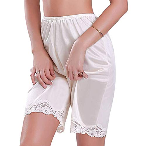 Lace Satin Bloomers - FULA-bao Women Lace Edge Bloomer Slip Pants, Lingerie Satin Snip-it Pettipants Sleepwear Short Pants (Beige, 3XL)