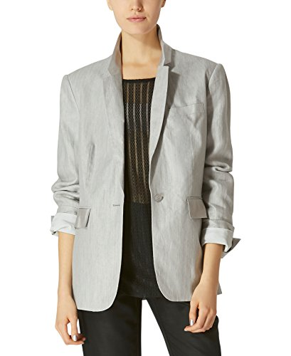 Cotton Blend Blazer (Avec Les Filles Joyce Azria Boyfriend Blazer (Heather Grey) Size XL)