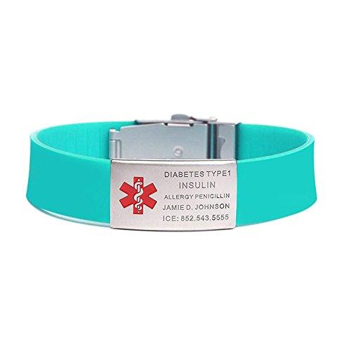 BBX JEWELRY Sports Medical ID Alert Bracelet for Men Women 18MM Silicone Wristband Adjustable 5.5