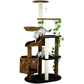 Go Pet Club Cat Tree Furniture, 74-Inch, Black/Brown