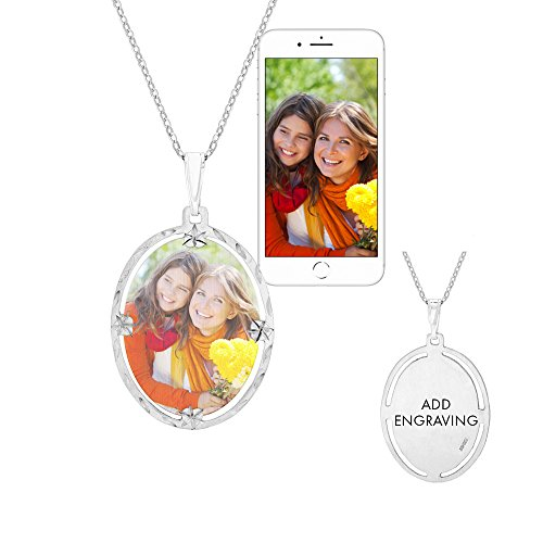Sterling Silver Framed Oval Photo Pendant - Framed Oval Pendant