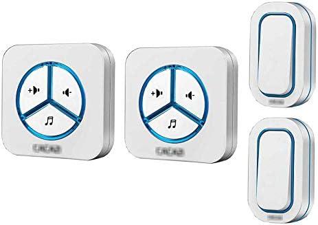 ウォールプラグインコードレスドアチャイム、ワイヤレス防水ドアベルチャイムキット、48トーン900フィートレンジ6ボリュームレベル(2ボタンと2レシーバー),白