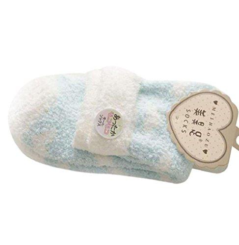 Sagton Mujer Warm Casual Comfort Coral Cashmere Calcetines De Invierno Calcetines De Piso Azul