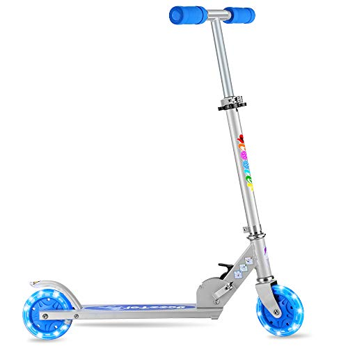 BELEEV V2 Folding Kick Scooter for Kids 2 Wheel Scooter for Girls Boys, CSPC&ASTM Safety Certified, 3 Adjustable Height, PU LED Light Up Wheels for Children 4 Years and up (Blue)