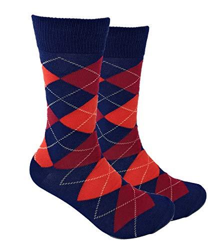 Urban Peacock Men's Argyle Dress Groomsmen Socks (Multiple Colors Available) (Argyle - Navy, Vibrant Persimmon & Maroon Apple, 1 Pair)