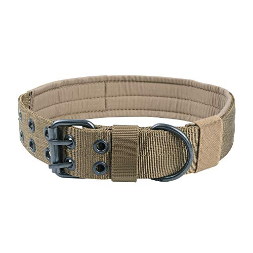 EXCELLENT ELITE SPANKER Nylon Tactical Dog Collar Military Adjustable Training Dog Collar with Double Metal D Ring Buckle(CoyoteBrown-M)
