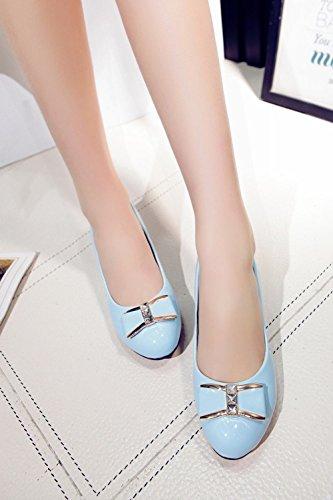 Latasa Womens Cute Bow Mid Chunky Heel Pumps Casual Scarpe Blu Chiaro