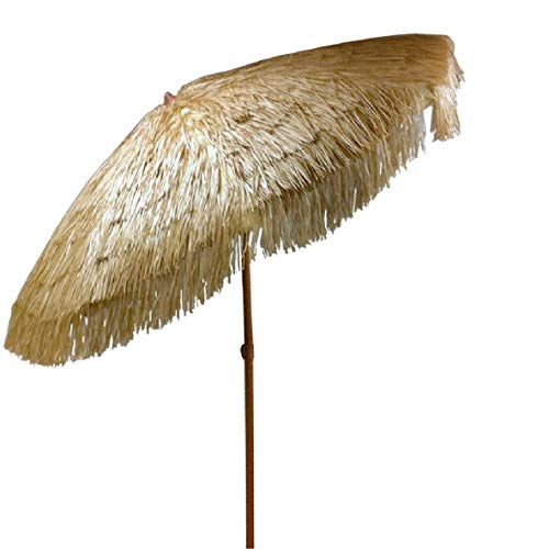 Tiki Umbrella 8 Feet Outdoor Patio Umbrella Hula Thatched Tropical Hawaiian Patio Straw Umbrella Raffia Umbrella with 8 Ribs, Press Button Tilt Natural Color (8 FT, Natural Tiki) -