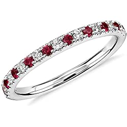 14K Gold 0.60 Ct. Natural Round Cut Red Ruby & White Diamond Wedding Band For Women