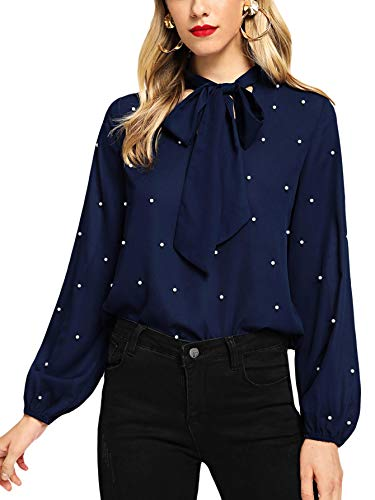 Floerns Women's Bow Tie Neck Long Sleeve Blouse Chiffon Tops and Blouses for Office Work Navy-2 M