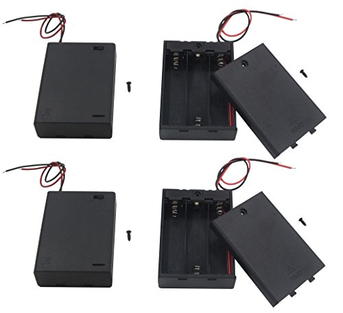LAMPVPATH (Pack of 4) 3 AA Battery Holder with Switch, 4.5V Battery Holder With Switch, 3 x 1.5V AA Battery Holder with Leads and Switch