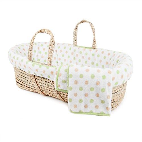 Tadpoles Polka Dot Plush Fleece Moses Basket and Bedding Set, Green