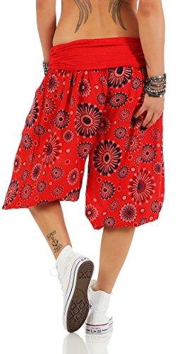 ZARMEXX Señoras 3/4 bombachos estilo Capri pantalones harén pantalones cortos de verano de yoga hasta la rodilla Aladin un tamaño Rojo