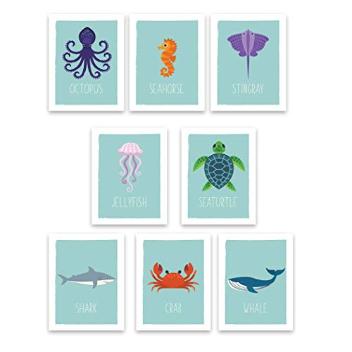 Ocean Animals Wall Cards, Nursery Wall Decor, Set of Six 5×7 Prints, Educational Posters, Ocean Life Decor, Nursery Decor, Flash Cards, Wall Decal Baby, Childs Wall Decor, Reading Tool for Kids
