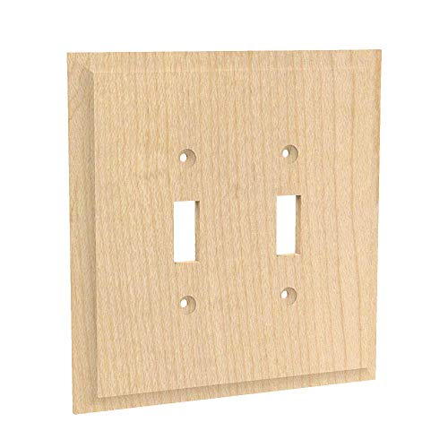 - Designs of Distinction Wood Light Switch Plate Cover - Double Light Switch - Unfinished/Raw Hardwood - Laser cut & includes installation hardware - 01451001-1 (Alder)